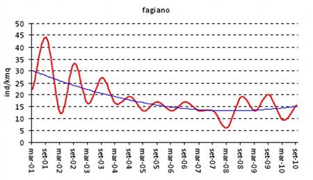 Fig. 2 - Curva di interpolazione che illustra per il fagiano la presunta dinamica di popolazione relativa alle riserve dell'AtcFm; il grafico è stato ottenuto con il valore medio delle densità rilevate in tutte le ZRC. I valori di settembre 2010 sono inferiori a quelli di settembre 2009. La linea di tendenza indica una progressiva flessione del potenziale riproduttivo.